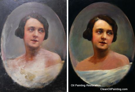 Oil on Panel Portrait Before & After Retouching & Repair